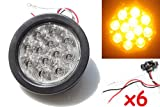 """6 Amber 4"""" Round LED Turn/Tail/Signal Light Kit with Grommet Plug, 12 Diode"""