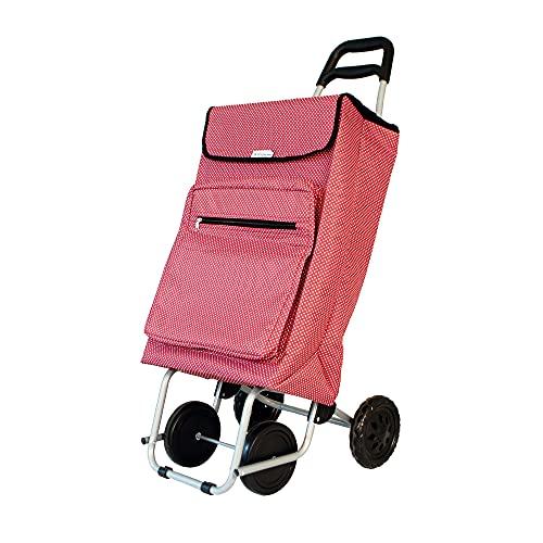 Amig - Carro de la Compra Termo Modelo 5   4 Ruedas   Color Rojo Estampado Lunares Blancos   Capacidad 48L   Carga máxima 15kg