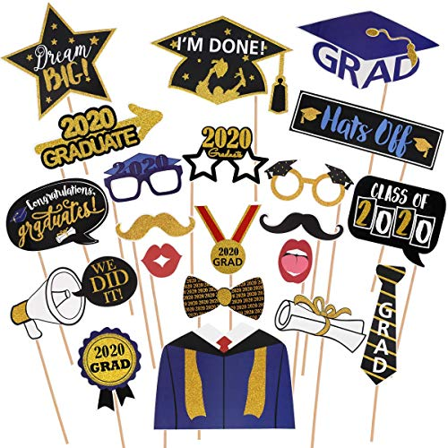 Amosfun Graduation Photo Props Glitter Graduation Phtoto Booth Props 2020 Graduation Party Decorations Pack of 21