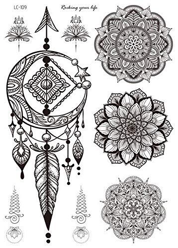 Autocollants de tatouage rétro noir autocollants tatouage motif main personnalisé apposées tatouages temporaires,LC-109