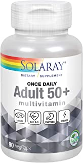 Solaray Once Daily Adult 50+ Multivitamin | Healthy Energy, Heart & Immune Support for Mature Adults | 90 CT