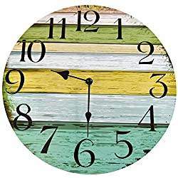 Home-X Green Large Analog Wall Clock, Silent, Rustic Home Decor, 11 inch Quality Quartz Battery Operated Round Easy to Read Home/Office/Classroom/School