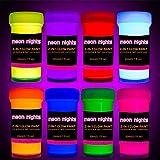 2-in-1 Glow in The Dark Acrylic Paint Set by neon nights – Glows in The Dark & Under UV Blacklight - Set of 8 Self-Luminous Neon Paints - German Premium Quality - Phosphorescent