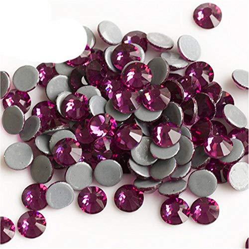 2058HF Strass Cristales DIY Plano Artes y Artesanías Piedras de cristal Hot Fix en la ropa, color fucsia, SS30 288 piezas