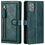 ZGHYBD for iPhone 12 Case, for iPhone 12 PRO Genuine Leather Wallet Case [Card Slots][Magnetic Closure] Flip Folio Cover Compatible with iPhone 12 Pro/12, 6.1', Green FORiPhone1212/Por Brown