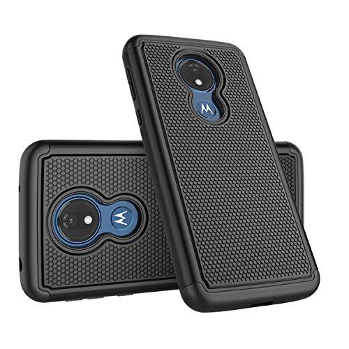 Moto G7 Power Hülle, Motorola Supra Optimo Maxx XT1955 Handyhülle, Takfox Heavy Duty Shockproof Rugged Cover Hartplastik und Soft Silikon Dual Layer Schutzhülle Robuste Handyhülle - Schwarz