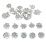 JIALEEY 30pcs Alloy 'She believed she could so she did' DIY Message Charms Pendant for Crafting Bracelet Necklace Jewelry Making Accessory, Antique Silver Round