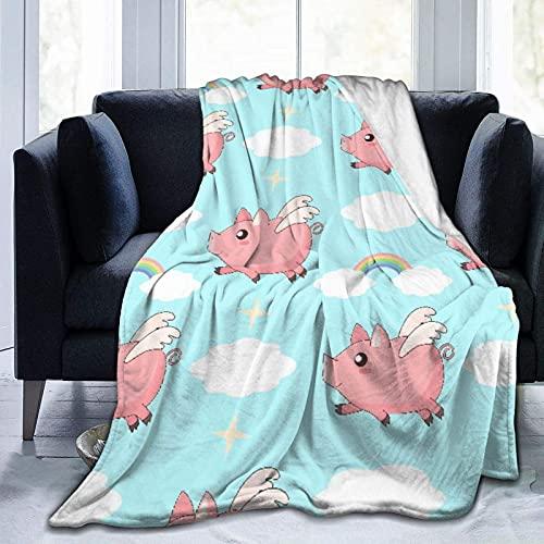 Lindos lechones Kawaii de Dibujos Animados Volando en el Cielo Entre Nubes y arcoíris, cálidas Mantas de Franela antipilling para sofá, sofá, Dormitorio