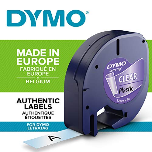 Dymo Letratag Plastic Tape, 12 Mm X 4 M Roll - Black On Transparent