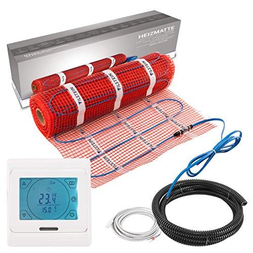 VILSTEIN© Elektrische Fußbodenheizung (3m² - 6m lang / 0,5m breit) Elektro Fußboden-Heizmatte 150W/m² für Fliesen-boden Fußboden-Heizsystem Elektrisch inkl. Thermostat TWIN Technologie Komplett-Set