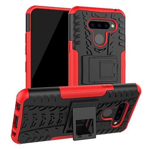 LiuShan LG Q60 / LG K50 Funda, Heavy Duty Silicona Híbrida Rugged Armor Soporte Cáscara de Cubierta Protectora de Doble Capa Caso para LG Q60 / LG K50 Smartphone,Rojo