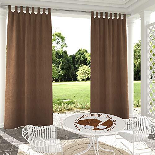132x305cm marrón Cortinas para Exteriores de Velcro, Resistentes al Viento, Resistentes al Agua, Resistentes a la harina, para jardín, balcón, casa de Playa, vestíbulo, Cabana