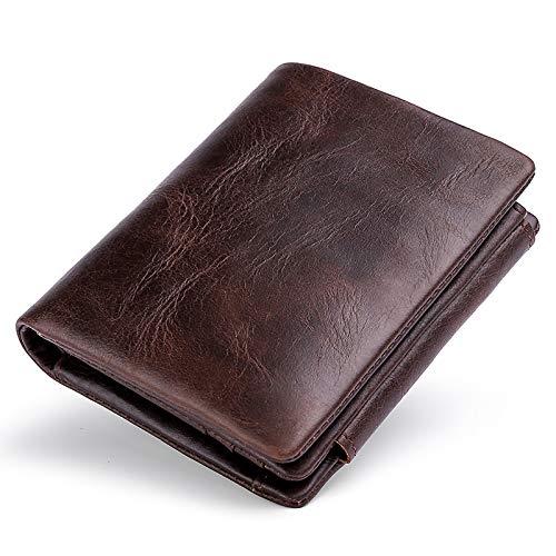 Mans Portemonnaie, dreifach gefaltetes Portemonnaie für Herren Leder RFID Portemonnaie to My Dad Portemonnaie Braun Front Pocket für Vatertag Geburtstag Weihnachten (Braun 2)