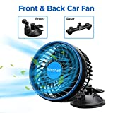 JoyTutus 12V Car Fan with Suction Cup + Backseat Bracket, Electric Car Cooling Fan for Front and Backseat, Quiet Air Conditioner Fan for Car Cigarette Lighter, Portable Fan for Car MPV SUV RV Boat