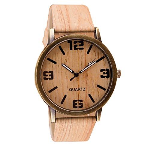 joyliveCY-Retro Unisex Piel Sint¨¦tica Pulsera de Casual de cuarzo reloj de madera relojes estilo # 4