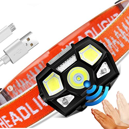 Kopflampe 6000 Lumen LED Stirnlampe Super Hell IR Bewegungsmelder Freisprechfunktion Leistungsstark Scheinwerfer USB Wiederaufladbar Stirnlampe Licht Wasserdicht