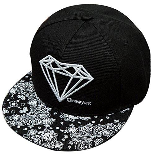 Belsen Damen Diamant Muster Cap Baseball Hut Trucker Hat, Blume/Schwarz, Einheitsgröße