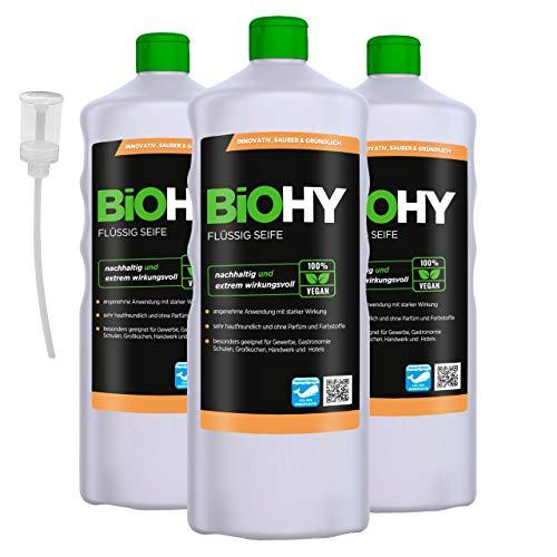 BiOHY Jabón líquido (3 botellas de 1 litro) + Dosificador | Jabón líquido para manos inodoro, agradable a la piel y reengrasante | Sin perfume ni colorantes (Flüssig Seife)