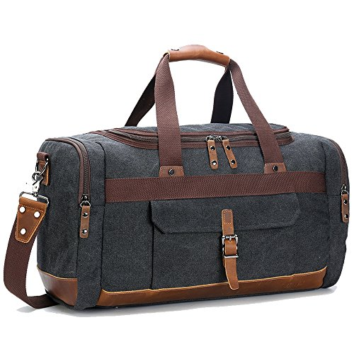 BLUBOON Travel Duffel Bag Canvas Weekender Overnight Carry-on Luggage with Genuine Leather Trim for Women Men (Big Size Dark Grey)