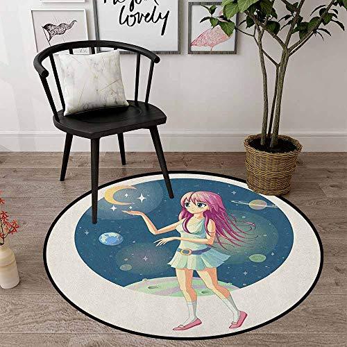 Anime - Alfombra redonda de 68,5 cm, multicolor, ilustración de una niña contra el fondo del espacio con estrellas y luna cerca de su mano, alfombra para el dormitorio (redonda 70 x 70 cm)