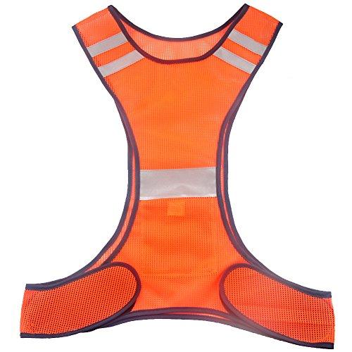 Ueasy - Chaleco de alta visibilidad para corredores y ciclistas, chaleco con rayas reflectantes - Amarillo -
