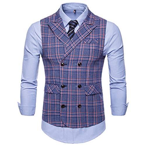 Mxssi Chaleco a Rayas Azul a Cuadros Hombre Chaleco Estilo británico Chaleco Formal Chaleco Hombre a la Boda Vestido Casual fit