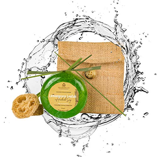 India Grooming Club Lemon Grass Loofah Handmade Soap Bar (100g) for the Face and Body For Natural Exfoliation. Handcrafted in India with 100% Natural & Organic Ingredients