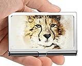 Monedero del titular de la tarjeta del nombre del negocio, caso abstracto de la tarjeta de visita del extracto del arte animal del leopardo hombres