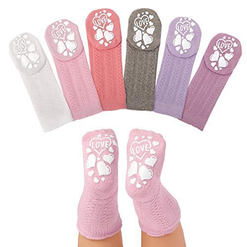 Anole Calcetines para Recién Nacido y Bebé - 6 Pares - Medias Tejidas Alto de Rodilla para Niñas (Niñas, 6-12 Meses)