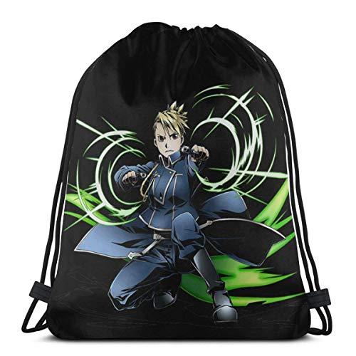 WH-CLA Mochila con Cordón Mechanical Armor Boy Edward Elric Anime Unique Women Sack Drawstring Bag Durable...