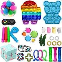 ZhaZhaMeng 30pc Tik Tok Fidget Juguetes Paquete sensoriales Fidget juguetes para empujar Bubble Pop estrés juguete...