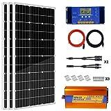 ECO-WORTHY 12V 300W kit Solar completo: 3 Panel Solar 100 W + 1 KW corriente de onda Pure sinusoïdale + 32 m cable adaptador Solar + 30 A PWM controlador de carga de + conectores solar + montaje Z