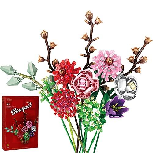 Blumenstrauß Bauspielzeugsets, 1237 Teilige Künstliche Blumen Konstruktionsspielzeug, Kreatives DIY Zimmer-Deko Botanik Kollektion Bausteine Kompatibel mit Lego 10280 Creator Expert für Erwachsene