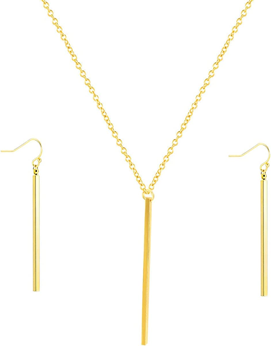 HUSION Fashion Bar Neckacle and Earrings Gold Plated Simple Bar Y Shaped Necklace and Leaves Jewelry Sets for Women Girls