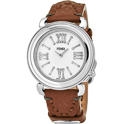 Fendi Selleria Womens Stainless Steel Fashion Swiss Watch - Mother of Pearl Face Cocoa Brown Leather Strap Vintage Dress Watch for Women with Interchangeable Band F8010345H0-SS18RC2S