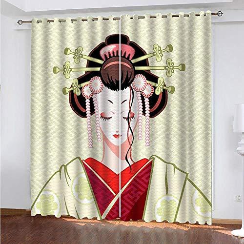 JJDSL Tende Occhielli Morbidi per Ritratto di donna giapponese 140 x 260cm Tende Soggiorno Moderne Elegante 2 Pezzi Tende Salotto con Occhielli