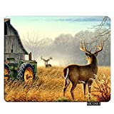 Nicokee Deer Gaming Mousepad Deer Hunting Tractors Animal Mouse Pad Rectangle Mouse Mat for Computer Desk Laptop Office 9.5 X 7.9 Inch Non-Slip Rubber