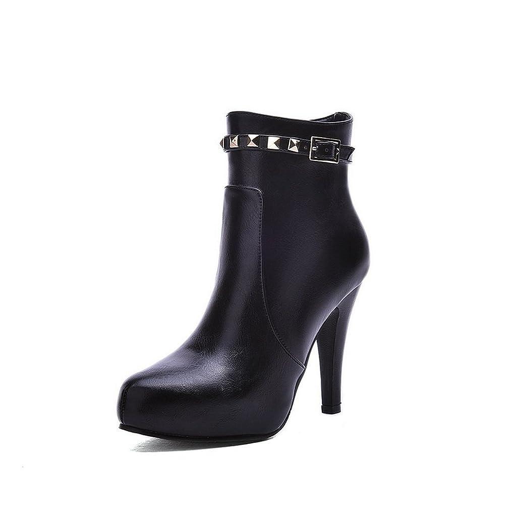 玉オアシス悲しいことにBalaMasa レディース ドレス ファッションチェックのハイヒール プラットフォーム 金属バックル ブラック Puの皮 ブーツ?ブーティ - 24.5cm