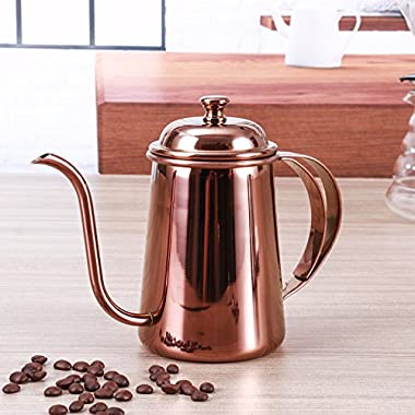 Stainless steel Gooseneck Kettle - 8th team 650ml Pour Over Drip Kettle Stainless Steel With Precision Gooseneck spout for amazing water flow control,ideal for pour over coffee and tea (rose gold)