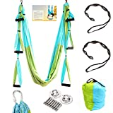 Geelife Aerial Yoga Hammock Set Yoga Swing Kit Trapeze for Yoga Antigravity Inversion Hanging Equipment (Blue)