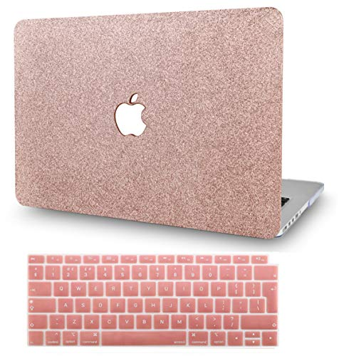 KECC MacBook Pro 13' Case (2020/2019/2018/2017/2016) w/ UK Keyboard Cover Plastic Hard Shell A2159/A1989/A1706/A1708 Touch Bar (Rose Gold Sparkling)