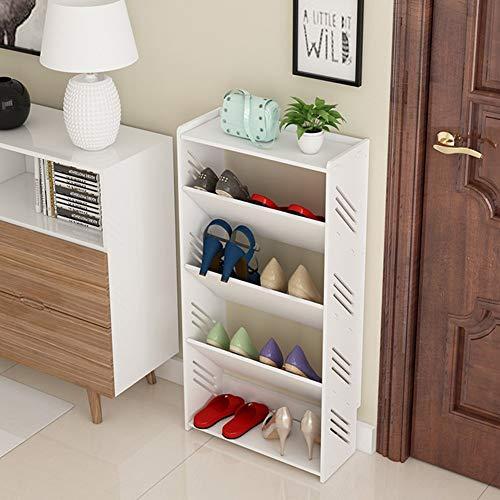Nfudishpu Zapatero Soporte Estante Almacenamiento Caja Zapatos A Prueba Polvo Hogar Simple Sala Estar Dormitorio multifunción Rodamiento Fuerte, Blanco, 4 tamaños Fácil Montar el hogar