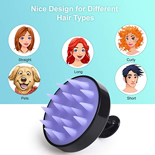 Hair Scalp Massager Shampoo Brush, HEETA Manual Head Scalp Massage Brush with Soft Silicone Bristles for Wet and Dry Hair, Scalp Care Comb for Women, Men, Pet, Exfoliate and Promote Hair Growth(Black)