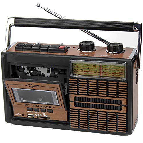 LPWCAWL Radio Vintage, Reproductor De Casetes Retro, Radio de 4 Bandas con Toma De Auriculares y Bluetooth, Soporta USB y Tarjeta SD, Frecuencia FM/AM/SW1/SW2
