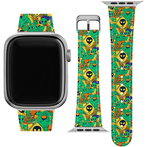 Lex Altern Band Compatible with Apple Watch Series 6 SE 5 4 3 2 1 38mm 40mm 42mm 44mm Wristband Aliens Buddha Print Thin Area 51 Funny Vegan Leather Meditating UFO Replacement Strap for iWatch wh411