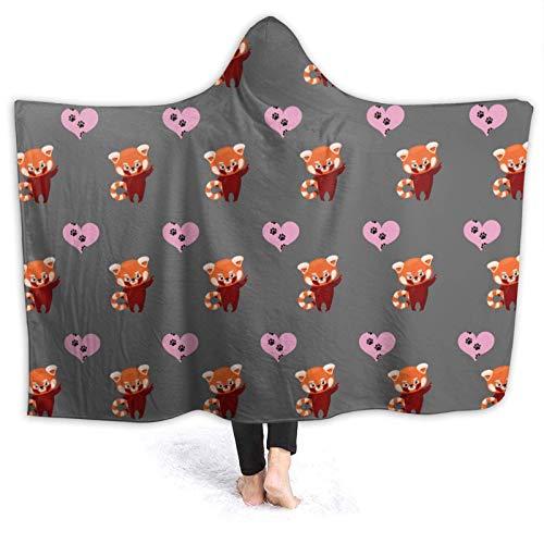 AEMAPE Pandas Rojos con Manta con Capucha de corazón Mantas Suaves Manta de Lana para niños, Adultos 50x40in