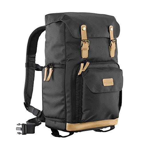 Mantona Luis Retro Fotorucksack (mit Echtleder-Applikationen, inkl. Regenschutzhülle, flexible Einteilung und Laptopfach, geeignet für 1x DSLR-Kamera, 3x Objektive und diverses Fotozubehör) schwarz