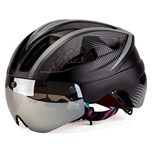 Pkfinrd Fahrradhelm Schutzbrille Helm Warnleuchten Reiten Kinder Fahrradhelm abnehmbare magnetische Schutzbrille Sonnenblende@Grau_Eine Größe