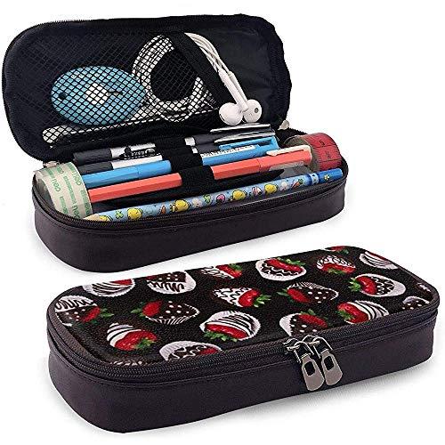 Aardbei Chocolade Potlood Case Grote Capaciteit Potlood Tas Duurzame Make-up Pen Pouch met Dubbele Rits Pen Houder voor School/Kantoor