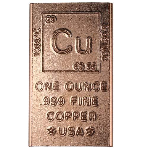 1 Ounce Copper Bar Bullion Element Design (1 Oz Copper Bar)